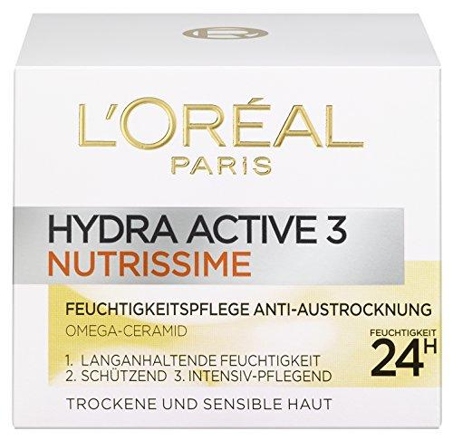 L\'Oréal Paris Hydra Active 3 Nutrissime Gesichtscreme, mit Omega-Ceramid für sehr trockene Haut, intensive Pflege, 50 ml