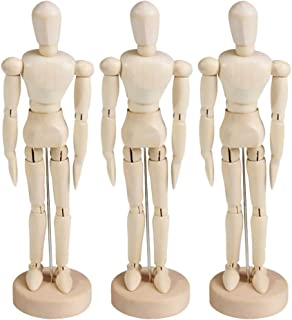 DOITOOL 3Pcs 4.5Inches Wooden Figure Model Human Art Mannequin Jointed Manikins for DIY Sketching Painting Drawing Decorat...