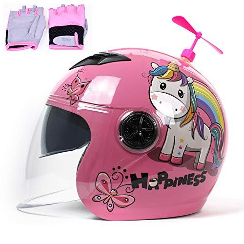 QZH Casco de Motocicleta para niño, Cate Lovely Fashion Cascos de Moto...