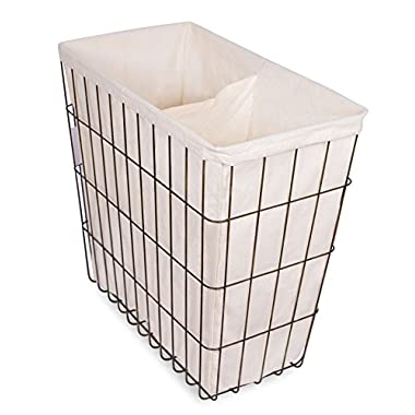 BirdRock Home Wire Double Laundry Hamper with Liner | Modern Age | Removable Liner | Easily Transport Laundry | Decorative | Rustic Metal Frame | 2 Compartments