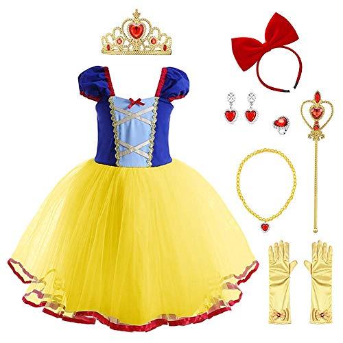 FYMNSI Ragazze Principessa Biancaneve Carnevale Costume con Accessori Travestimento Fantasia Fata Vestirsi Snow White Cosplay Compleanno Festa Costumi Halloween Natale Vestito Giallo 18-24 Mesi