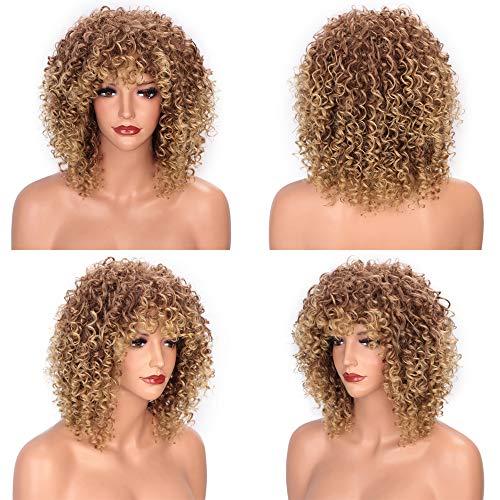 HAIRCARE Entiers 14inches Afro Kinky Bouclés Perruque,Synthétique Perruque Courte avec Une Frange Brown Mélangés Et Perruque Blonde pour Les Femmes Noires-a 14inches