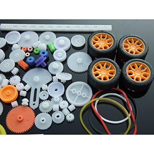 ACHICOO Modellautoteile, 78St. Kunststoff Getriebemotor Getriebe Modell Spielzeugauto Auto Craft DIY Zubehör Achsgurt Wissenschaftliches Experiment