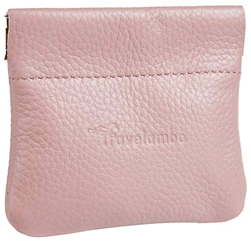 Travelambo Leather Squeeze Coin Purse Pouch Change Holder For Men & Women (Pebble Pink Baby)