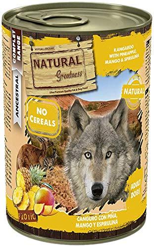 Natural Greatness Comida Húmeda para Perros de Canguro con Piña y Mango. Pack de 6 Unidades. 400 gr Cada Lata