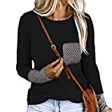 CuteRose Womens Relaxed Lounge Crewneck Plus-Size Stitch Solid Color Tunic Top Tees Black XS