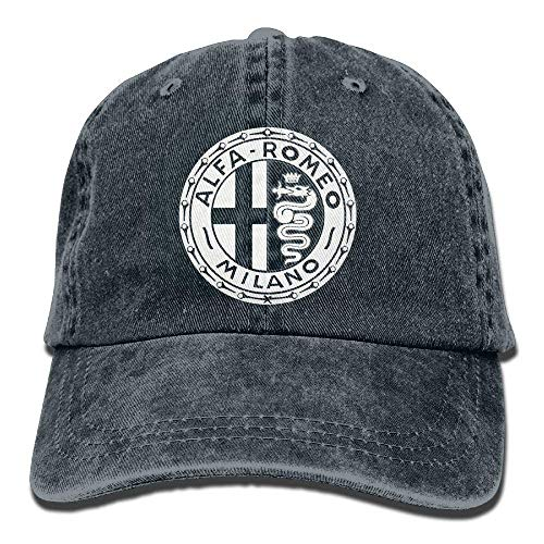 AOHOT Classic Hombre Mujer Gorras de béisbol,Alfa Romeo Circle Euro Youth Baseball Cap Vintage Denim Snapback Hat