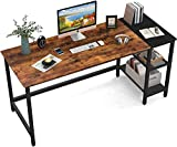 HOMIDEC Office Desk, Computer Desk With Bookshelf PC Study Writing Desk for Home Working with Storage Shelves, Desks & Workstations for Home Office Bedroom, 140x60x75cm