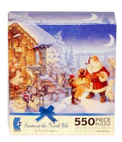 SANTA at North Pole by Scott Gustafson 550 Piece Jigsaw Puzzle MADE IN USA PUZZLE
