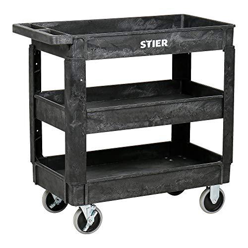 STIER Kunststoff-Vielzweckwagen | 3 Etagen | 250kg Tragkraft | 87x43x85cm | 2 Feststeller | Montagewagen | Werkzeugwagen