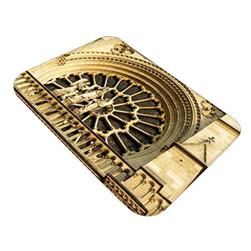ZEELIY Antirutschmatte Teppichunterlage Teppichstopper Rutschschutz für Teppich Teppich Antirutsch Rutsch Stop Notre Dame de Paris Pattern Square Bereichswolldecke Fleece Kitchen Bathroo 60X40CM