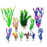 [page_title]-LLGL 11-teilig Aquarium Wasserpflanzen Künstlich Pflanzen Kunststoffpflanzen Aquariumpflanze Fisch Tank Dekoration (Grün-Purple)
