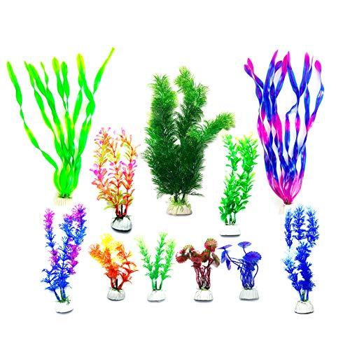 LLGL 11-teilig Aquarium Wasserpflanzen Künstlich Pflanzen Kunststoffpflanzen Aquariumpflanze Fisch Tank Dekoration (Grün-Purple)