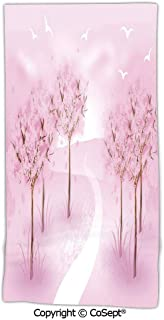 PUTIEN Fade-Resistant Microfiber Bath Towel,Enchanted Romantic Forest Scenery with Birds Flying Seasonal Beauty Love,Made with 100% MicrofiberBaby Pink White