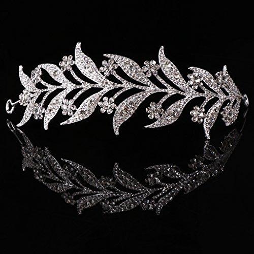 SimpleLife Leaf Tiara Stirnband, mittelalterliche Kopfschmuck - simulierte Perle Stirnband Haar Tiara Krone Braut Hochzeit Tiara Prinzessin Schmuck Frauen Queen Decor