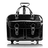 Siamod, Monterosso, SAN Martino, Embossed Crocco Leather, 15' Leather Ladies Patented Detachable -Wheeled Laptop Briefcase, Black (35305)