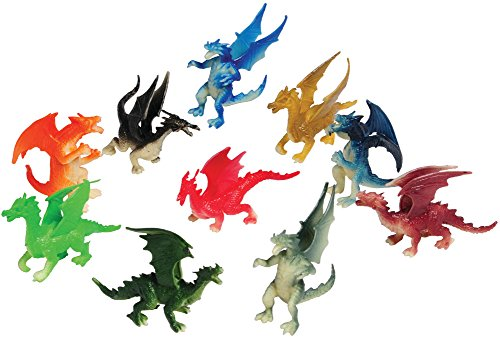 Assorted Color And Design Mini Dragon Action Figures (12)