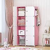 YOZO Portable Closet Wardrobe Cube Storage Organizer Chest of Drawer Cube Shelving Unit Multifunction Toy Cabinet Bookshelf DIY Furniture, Pink, 8 Cubes