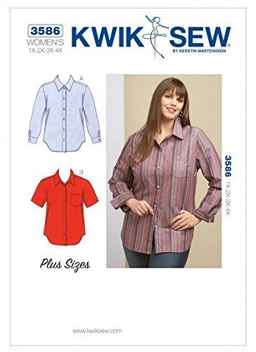 KWIK SEW Ladies Plus Size Sewing Pattern 3586 Shirts & Blouse Tops