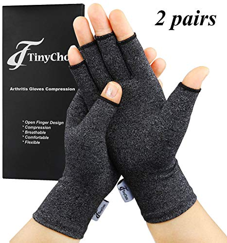 Arthritis Gloves, 2 Pairs Compression Gloves for Women Men, Fingerless Gloves Support and Warmth for Hands, Finger Joint, Relieve Pain from Rheumatoid, Osteoarthritis, RSI (Black, Large-2 Pairs)