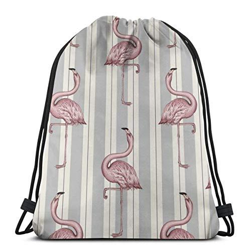 Lsjuee Classic Drawstring Bag, Flamingo Gym Mochila Bolsos de hombro Bolsa de almacenamiento deportiva para hombre mujer