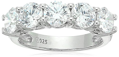 Platinum-Plated Sterling Silver Round-Cut 5-Stone Ring made with Swarovski Zirconia (3 cttw), Size 8