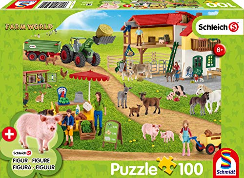 Schmidt Spiele 56404 Farm World, Bauernhof und Hofladen, 100 Teile Kinderpuzzle, mit Original Schleich Figur