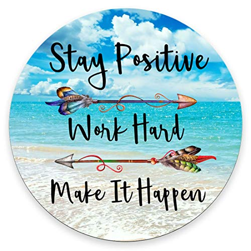 Amcove Beaches Sunny Day Round Mouse pad,Stay Positive Work Hard and Make It Happen Motivational Sign Inspirational Quote Round Mouse Pad Motivational Quotes for Work 7.9 x 7.9 x 0.12 Inch