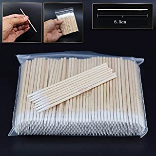 300pcs/pack Short Wood Handle Small Pointed Tip Head Cotton Swab Eyebrow Tattoo Beauty Makeup Color Nail Seam Dedicated Di...