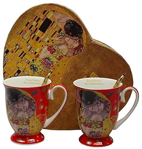 Gustav Klimt Tee-Kaffeetassen klassisch Der Kuss 2xTassen 2xLöffel (Rot) Der Kuss mit Geschenkbox