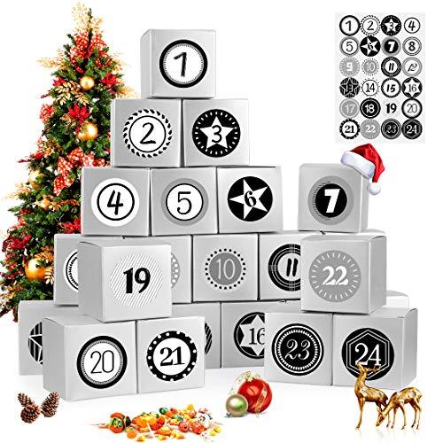 Adventskalender zum Befüllen, 24 Adventskalender Geschenkbox, mit Zahlenaufklebern, für Weihnachtlichen 2020 zum Basteln und Befüllen, Weihnachts-Geschenkschachtel zum DIY, Silber