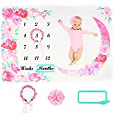 Baby Monthly Milestone Blanket, Growth Chart Blanket for Baby Boy and Girl, Memory Blanket for Baby Shower, Month and Age Blanket for Baby Nursery