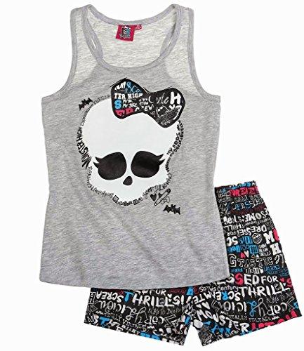 Monster High Offizieller Schlafanzug mit kurzen Ärmeln. Gr. 128 cm, hellgrau