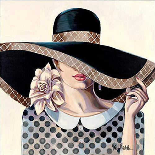 MSSD/EU 5D Diamond Painting complete set grote Amerikaanse hoed voor dames portret boren borduurwerk kruissteek mozaïek decoratie bars cafeteria 40 x 50 cm (16 x 20 inch)