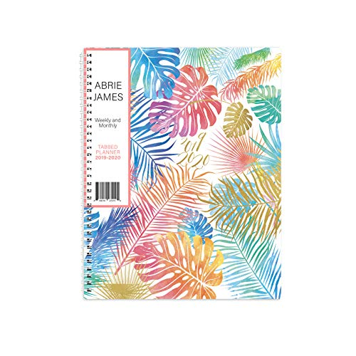 2019-2020 Abrie James Weekly Planner - Chic Women�s Organizer with Monthly Calendar � Spiral Bound Academic Appointment Book � Schedule Your School or Business Day � 8.5 x 11� Agenda, Tropical