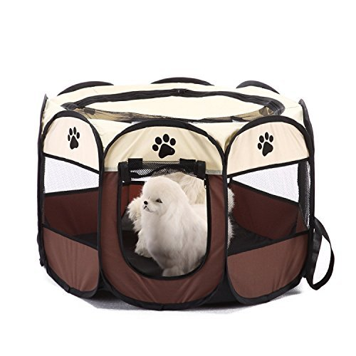 REAYOU Pet Portátil Plegable Playpen Portable Pet House, Carpa Plegable Casa para Dog Cat Puppy Exercise 8-Panel Kennel Mesh Shade Cover Interior/Exterior Carpa Valla para Perros Gatos(S)