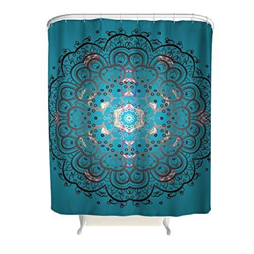Dofeely douchegordijnen blauwgroen mandala bedrukt modern antibacterieel gordijn 180x200cm badkuipgordijn 100% polyester