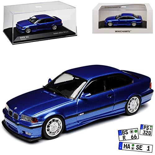 Minichamps B-M-W 3er E36 M3 Coupe Estoril Blau Metallic 1990-2000 1/43 Maxichamps Modell Auto mit individiuellem Wunschkennzeichen