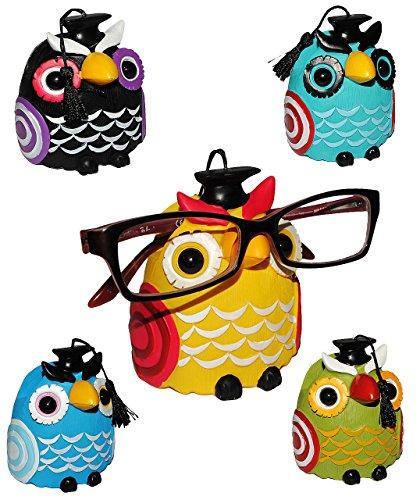 """1 Stück __ Brillenhalter - """" verschiedene Eulen """" - stabil aus Kunstharz - universal Größe - für Erwachsene & Kinder / Brillenhalterung - lustiger Brillenständer - für Sonnenbrille Lesebrille - Brillenablage / Eule Vögel lustige Schule Prüfung"""