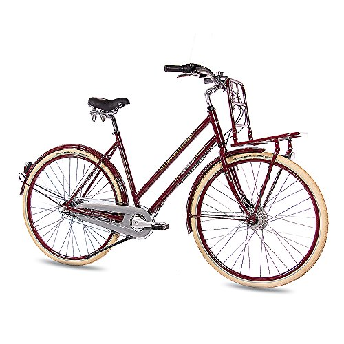 CHRISSON 28' Zoll Vintage CITYRAD Fahrrad DAMENRAD VINTIAGO mit 3G Nexus weinrot 56cm- 71,1 cm (28 Zoll)