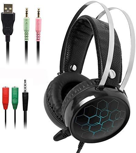 WHSS Juegos De Auriculares Con Micrófono, Sonido Envolvente 7.1 Con Cable USB De 3,5 Mm For Auriculares De Juego, For El Ordenador Portátil For PS4 Xbox One PC Mac Teléfono, Audio For El Hogar Y El Su