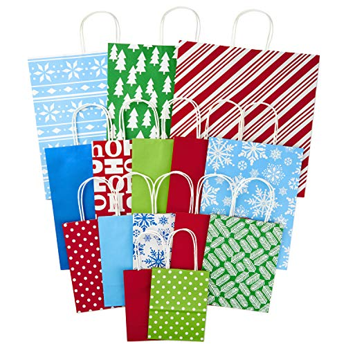 Hallmark Holiday Gift Bag Assortment (Pack of 15: 3 Extra Large, 5 Large, 5 Medium, 2 Small) Red, Blue, Green, Stripes, Solids, Patterns