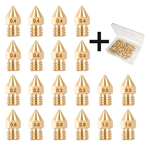HAWKUNG 20 Pièces MK8 Têtes Imprimante 3D M6 Laiton Extrudeuse Buse 0,2 mm, 0,3 mm, 0,4 mm, 0,5 mm, 0,6 mm, 0,8 mm, 1,0 mm Compatible avec 1,75 mm Filament Makerbot Creality CR-10 Hotend