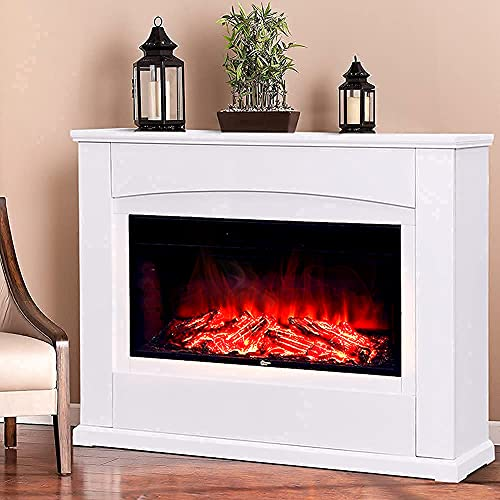 INMOZATA Electric Fire and Surround 50 inch White Electric Fireplace Freestanding Electric Fire Stove Suite Heater with Surround for TV Stand Home Decoration