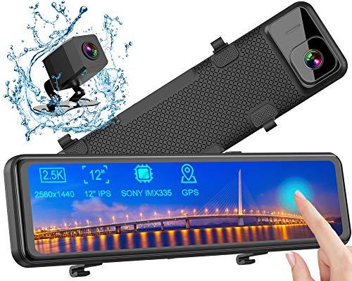 Caméra de Voiture GPS, Dashcam 2,5K Avant Arrière Voiture Rétroviseur Ecran Tactile 12 Pouces 2560P Ultra HD Caméra de Recul Embarquée Conduite Enregistreur Surveillance Stream Media G Capteur...