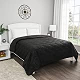 Lavish Home Black Coverlet-Full/Queen Size-Basket Weave Quilted Pattern-Soft & Lightweight Bedding for All Seasons-Solid Color Bedspread