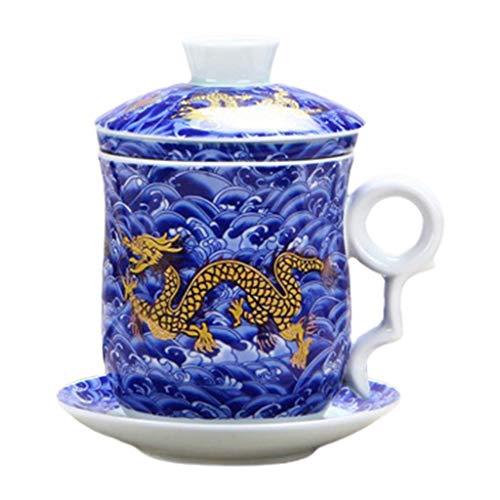 Xian Juego de tazas de té con filtro y tapa y platillo, diseño chino
