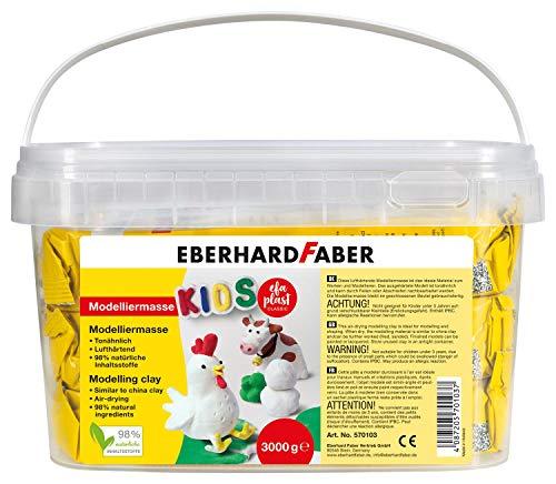 Eberhard Faber 570103 - Modelliermasse 3 kg weiß im praktischen Eimer, lufthärtend, tonähnlich, kreatives Mal- und Bastelvergnügen für kleine und große Künstler
