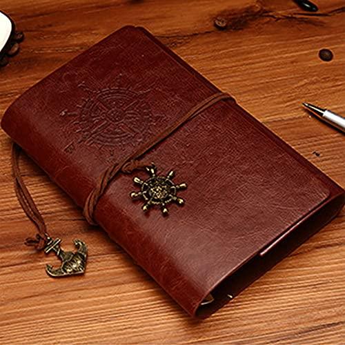 Cuaderno YYDE, diario de viaje recargable vintage, cubierta de poliuretano con ancla pirata vintage, cuaderno en blanco...