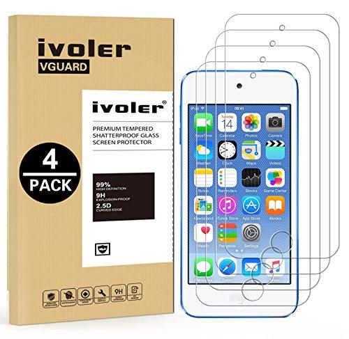ivoler [4 Stücke] Panzerglas Schutzfolie für Apple iPod Touch 7/6 / 5 (7, 6. und 5. Generation), Panzerglasfolie Folie Displayschutzfolie Hartglas Gehärtetem Glas DisplayPanzerglas für iPod Touch